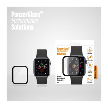 PanzerGlass Apple Watch Series 4 / Series 5 (40mm) -panssarilasi, Mustat reunat