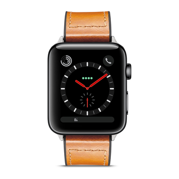 Apple Watch 42mm/44mm ranneke, aito nahka, Ruskea