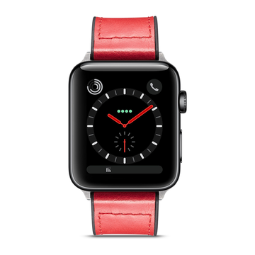 Apple Watch 42mm/44mm ranneke, aito nahka, Punainen