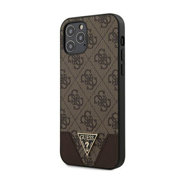 Guess iPhone 12 / 12 Pro -suojakuori, Triangle Collection ruskea