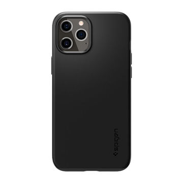 Spigen Thin Fit iPhone 12 / 12 Pro suojakuori, Musta