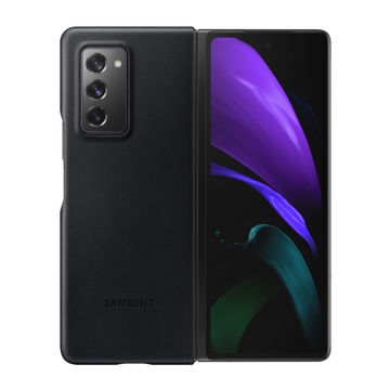 Samsung Galaxy Fold 2 5G Leather Cover -kuoret, Musta